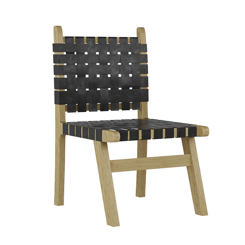 Καρέκλα ξύλινη/δερμάτινη natural/μαύρη 52x52x90cm Inart 3-50-552-0006