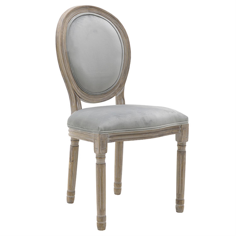 Καρέκλα ξύλινο/βελούδινη γκρι/natural 48x46x96cm Inart 3-50-659-0023