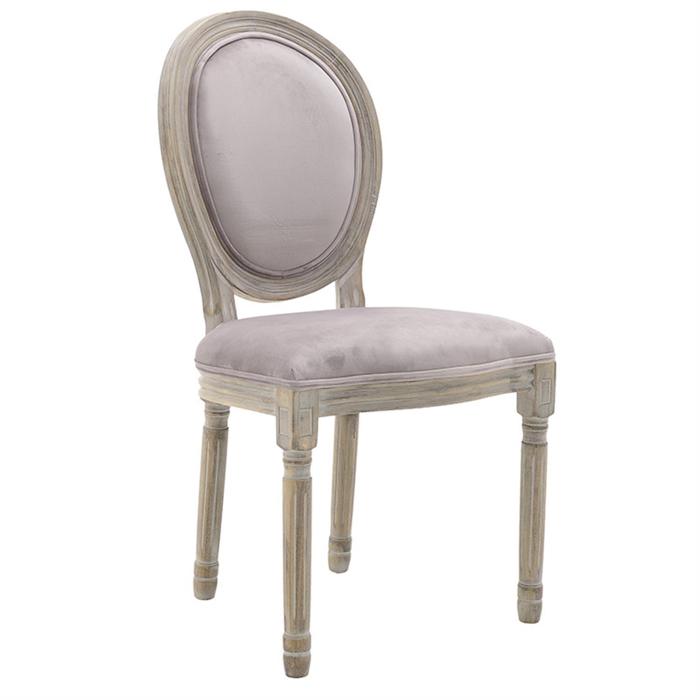 Καρέκλα ξύλινο/βελούδινη ροζ/natural 48x46x96cm Inart 3-50-659-0022