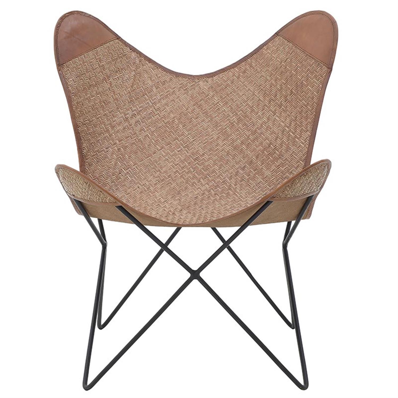 Καρέκλα πεταλούδα δερμάτινη/μεταλλική καφέ/μαύρη 75x90x73/48cm Inart 3-50-069-0006