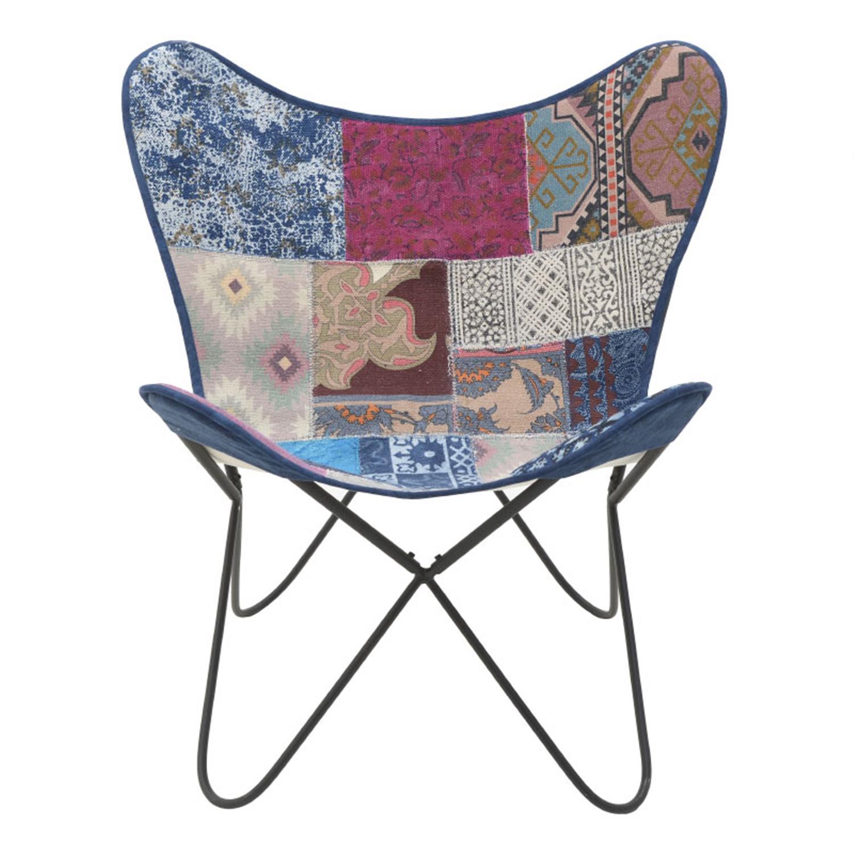 Καρέκλα πεταλούδα μεταλλική/υφασμάτινη patchwork 65x55x85cm Inart 7-50-122-0023