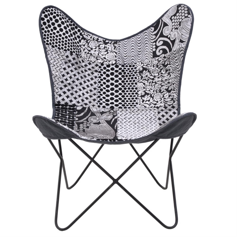 Καρέκλα πεταλούδα μεταλλική/υφασμάτινη γκρι/μαύρη 65x55x85cm Inart 7-50-122-0027