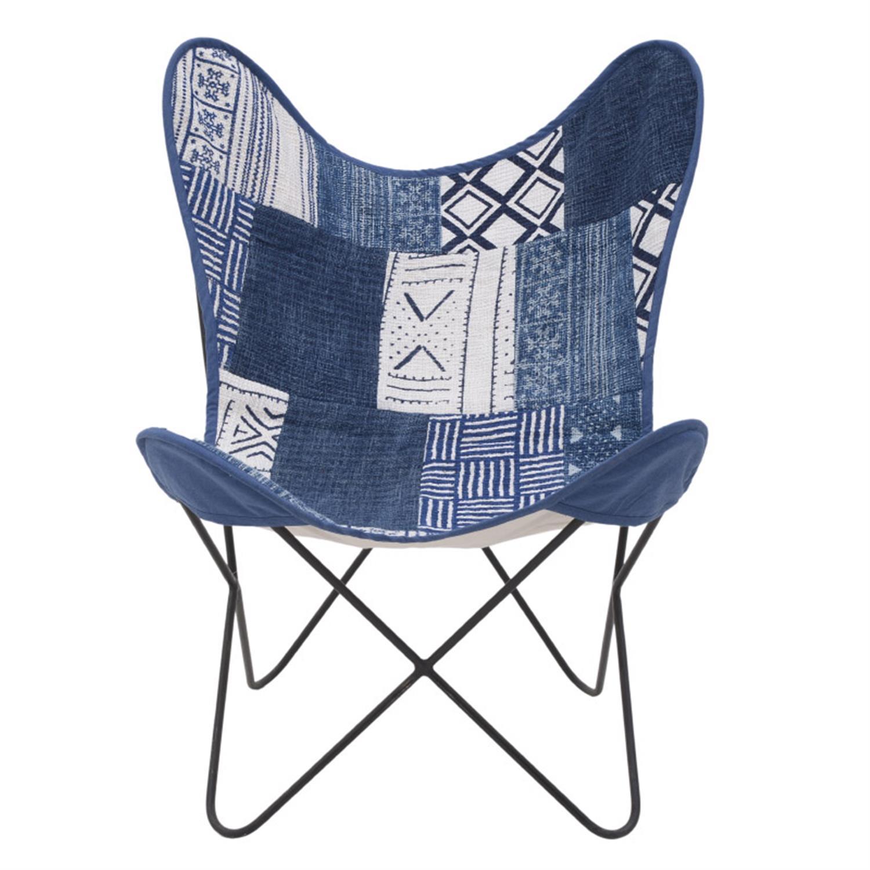 Καρέκλα πεταλούδα μεταλλική/υφασμάτινη μπλε/λευκή 65x55x85cm Inart 7-50-122-0028