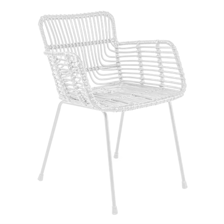 Καρέκλα ραττάν/μεταλλική λευκή 59x59x80cm Inart 3-50-563-0017