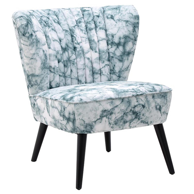 Καρέκλα υφασμάτινη όψη μαρμάρου λευκή/πράσινη 65×72.5×74/41cm Inart 3-50-923-0011
