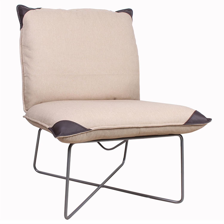 Καρέκλα υφασμάτινη/pu εκρού/καφέ 69x85x89.5cm Inart 3-50-884-0005