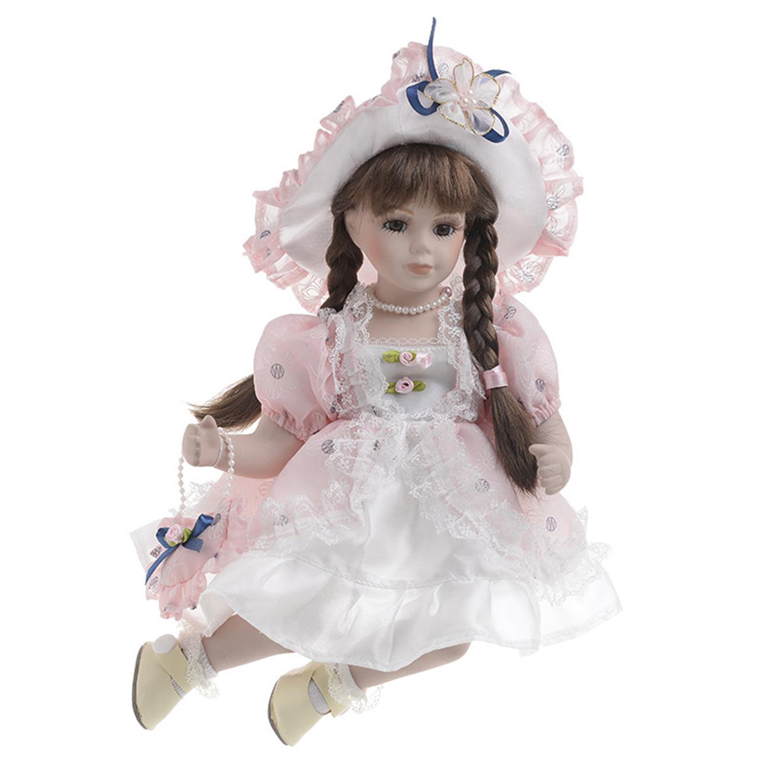 Κούκλα πορσελάνινη κορίτσι λευκό/ροζ φόρεμα Υ/36cm Inart 3-70-050-0105