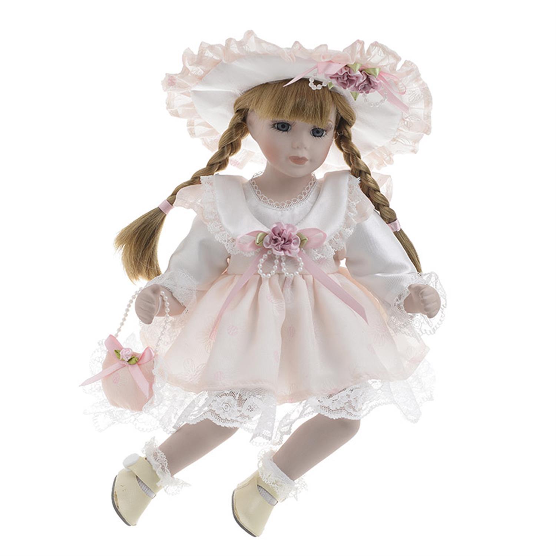 Κούκλα πορσελάνινη κορίτσι λευκό/ροζ φόρεμα Υ/36cm Inart 3-70-050-0106