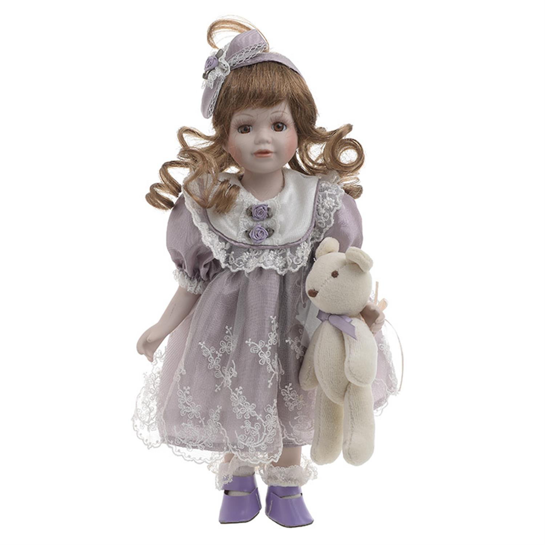 Κούκλα πορσελάνινη κορίτσι μωβ φόρεμα Υ/30cm Inart 3-70-050-0107