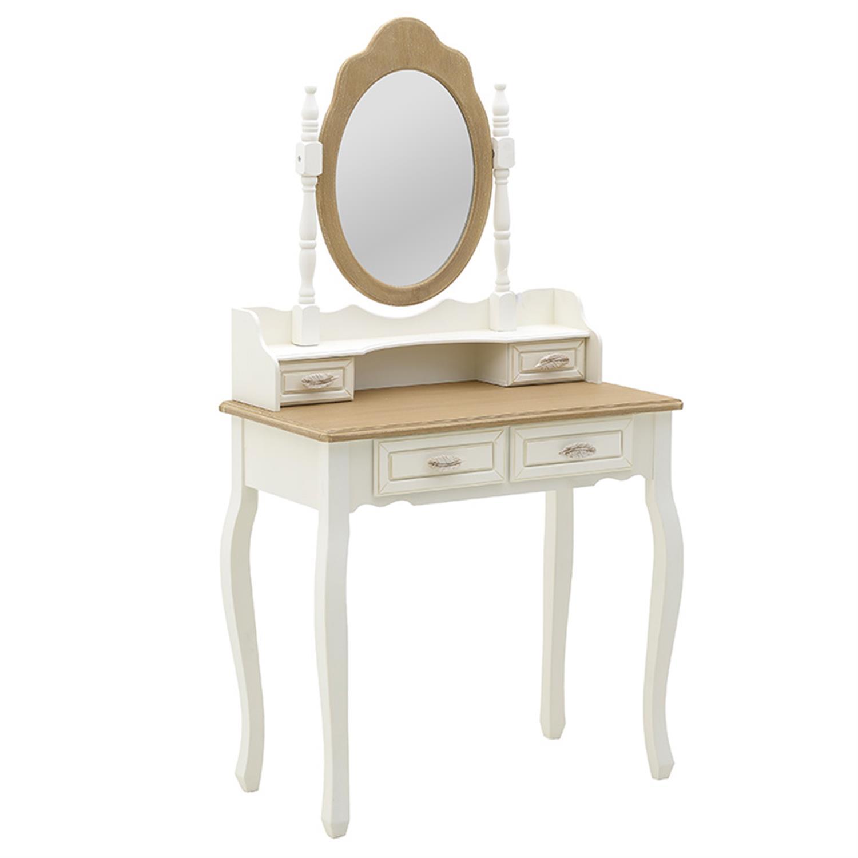 Μπουντουάρ ξύλινο λευκό/natural 75x40x140cm Inart 3-50-147-0100