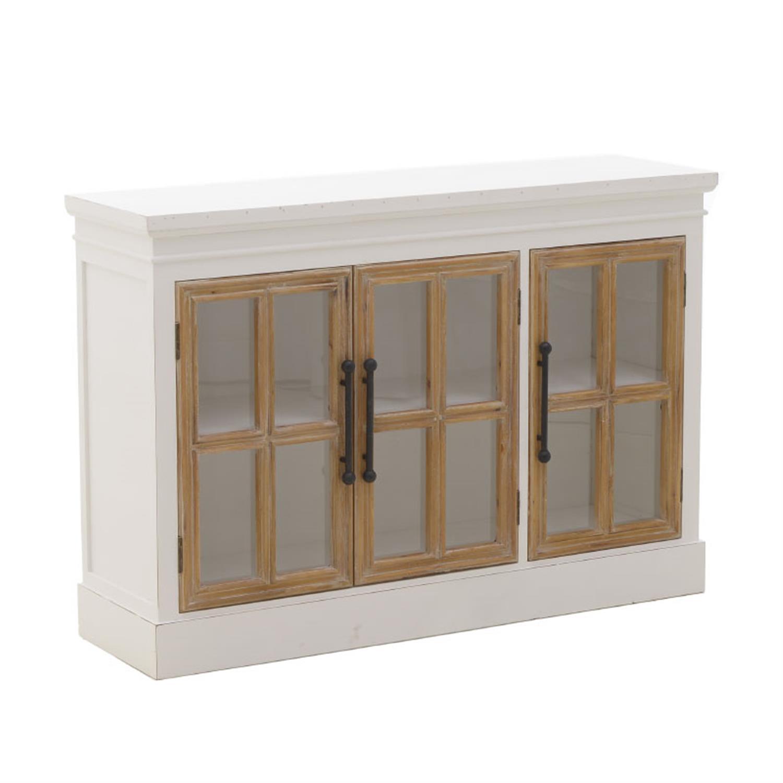Μπουφές ξύλινος λευκός/natural 120×35.5x82cm Inart 3-50-667-0034