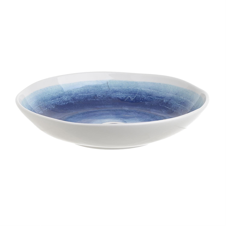 Μπωλ μάτι κεραμικό λευκό/μπλε Δ30x6cm Inart 3-60-017-0019