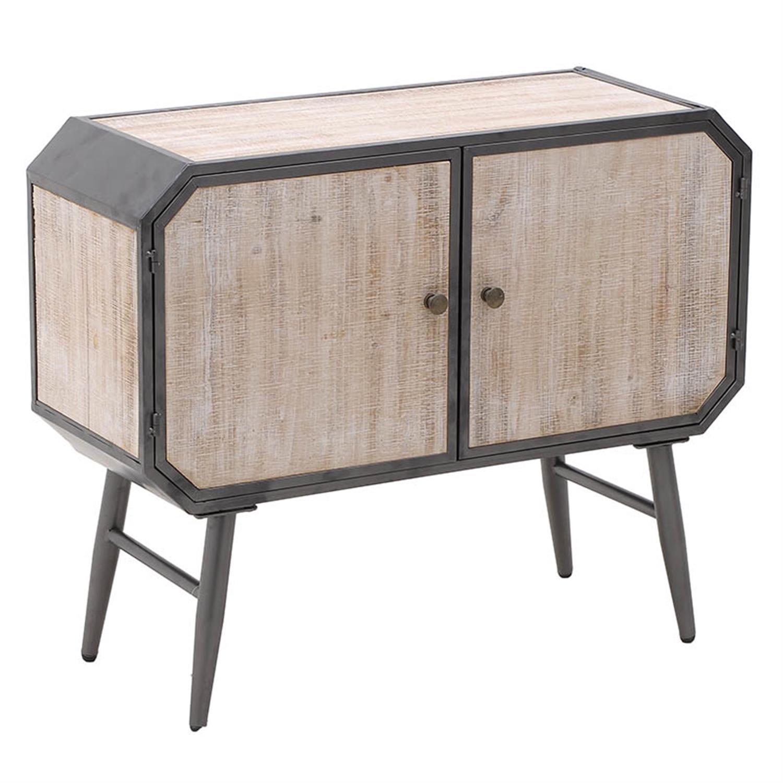 Ντουλάπι 2 πόρτες μεταλλικό/ξύλινο γκρι/natural 80x30x65cm Inart 3-50-235-0050