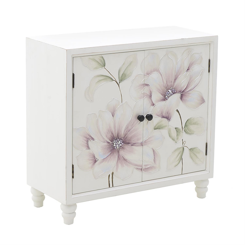 Ντουλάπι 2 πόρτες ξύλινο λουλούδια λευκό/ροζ 80x36x78.5cm Inart 3-50-519-0001