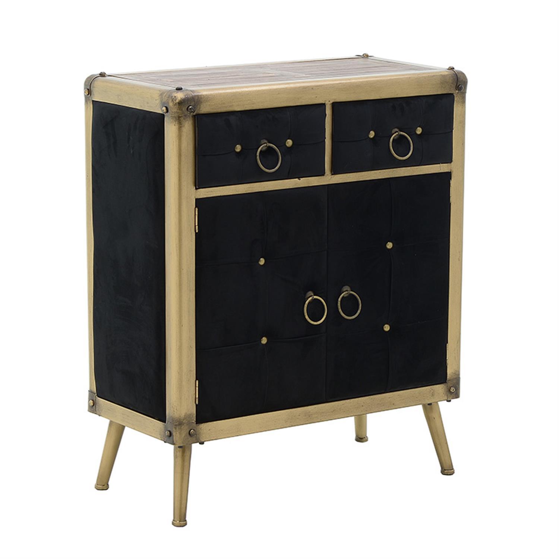 Ντουλάπι βελούδινο μαύρο/χρυσό 79x41x91cm Inart 3-50-479-0068