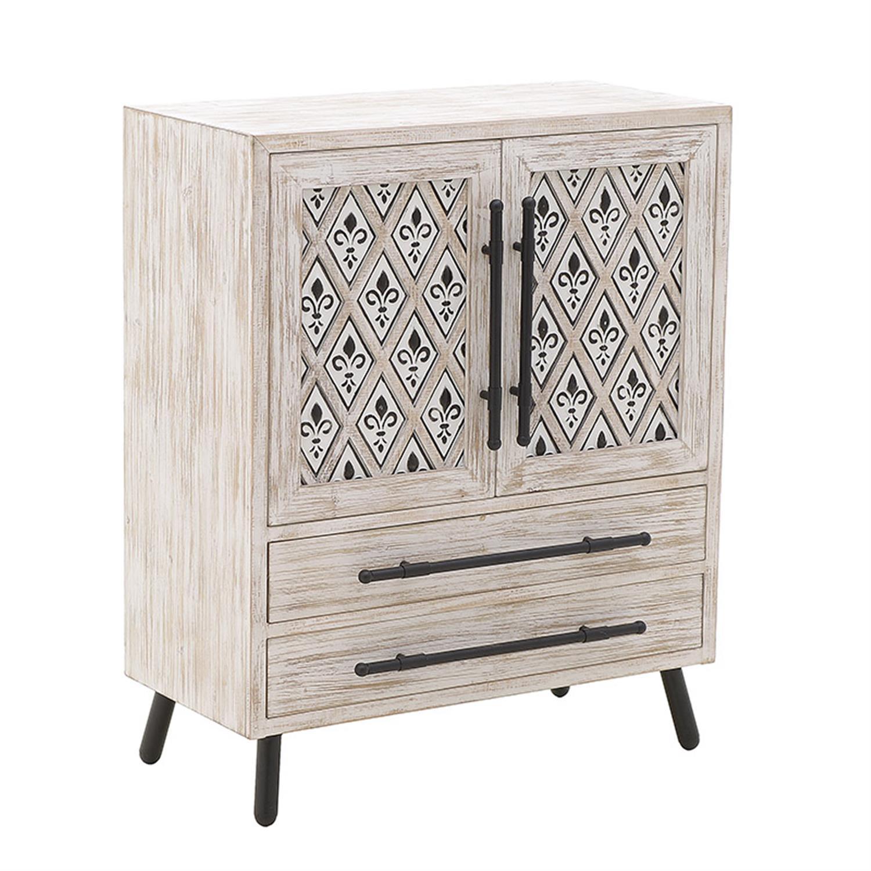 Ντουλάπι ξύλινο αντικέ λευκό 76×39.5x93cm Inart 3-50-400-0008