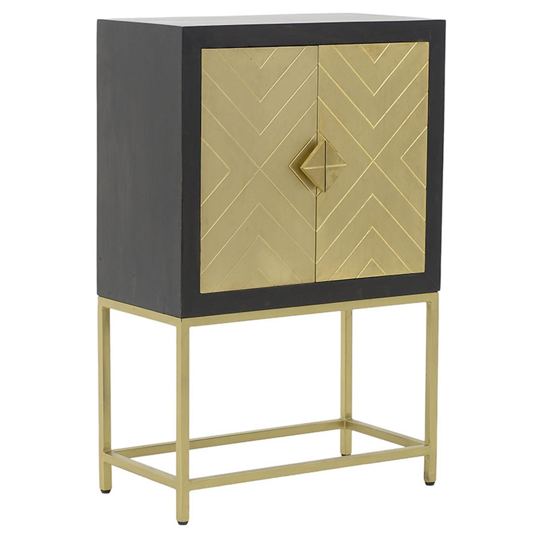 Ντουλάπι ξύλινο γκρι/χρυσό 79x41x122cm Inart 3-50-380-0004