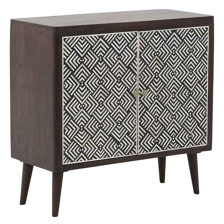 Ντουλάπι ξύλινο λευκό/μαύρο σχέδιο 90x40x86cm Inart 3-50-380-0005