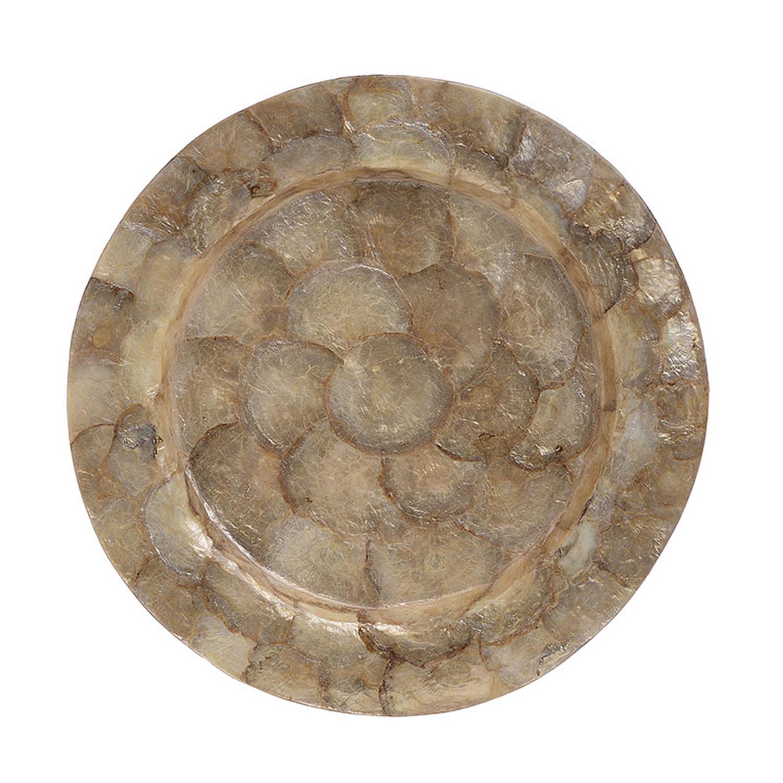 Πιατέλα διακοσμητική capiz shell χρυσή Δ33cm Inart 3-70-924-0002