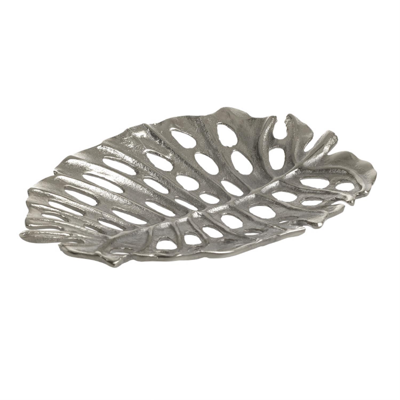 Πιατέλα διακοσμητική φύλλο αλουμινίου ασημί 26x17x3cm Inart 3-70-388-0356