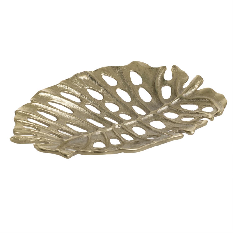 Πιατέλα διακοσμητική φύλλο αλουμινίου χρυσή 20x14x2cm Inart 3-70-388-0355