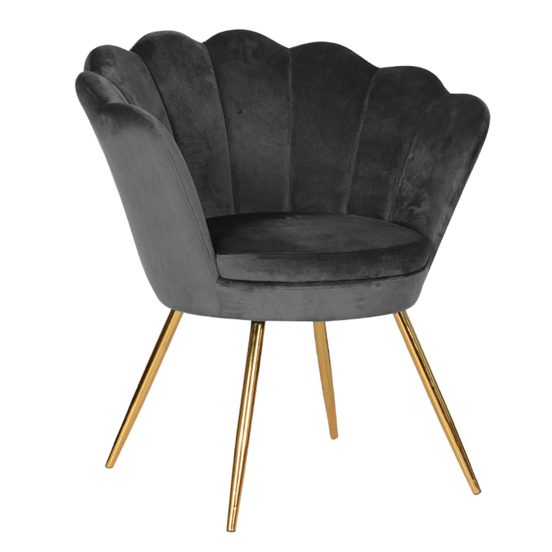 Πολυθρόνα βελούδινη μαύρη 76x62x83cm Inart 3-50-372-0010