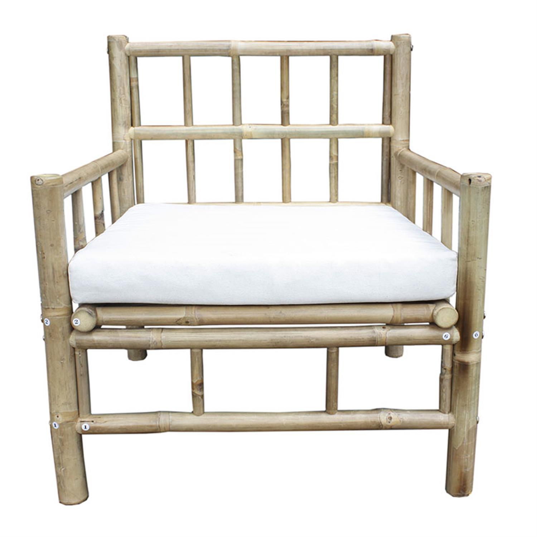Πολυθρόνα με μαξιλάρι μπαμπού natural/λευκή 70x70x80/35cm Inart 3-50-236-0020