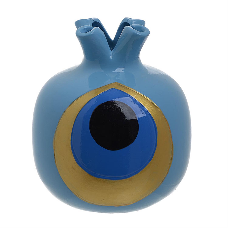 Ρόδι κεραμικό μάτι μπλε Δ16×19.5cm Inart 3-70-365-0040