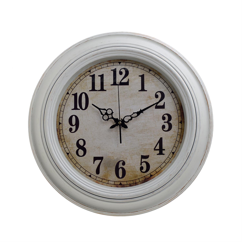 Ρολόι τοίχου pl αντικέ λευκό/εκρού Δ51×5.5cm Inart 3-20-385-0052