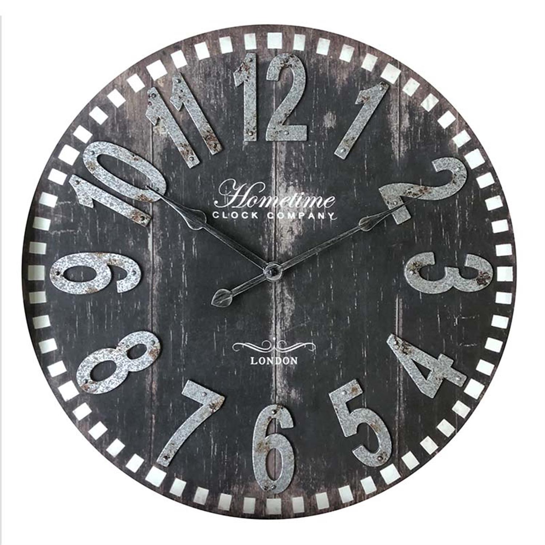 Ρολόι τοίχου pl αντικέ μαύρο/γκρι Δ46cm Inart 3-20-864-0110