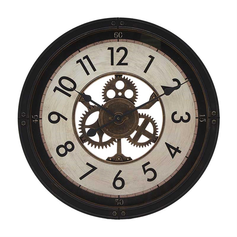 Ρολόι τοίχου pl αντικέ μαύρο/εκρού Δ50x5cm Inart 3-20-828-0114