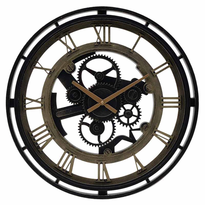 Ρολόι τοίχου pl αντικέ μαύρο/χρυσό Δ50×4.5cm Inart 3-20-925-0009