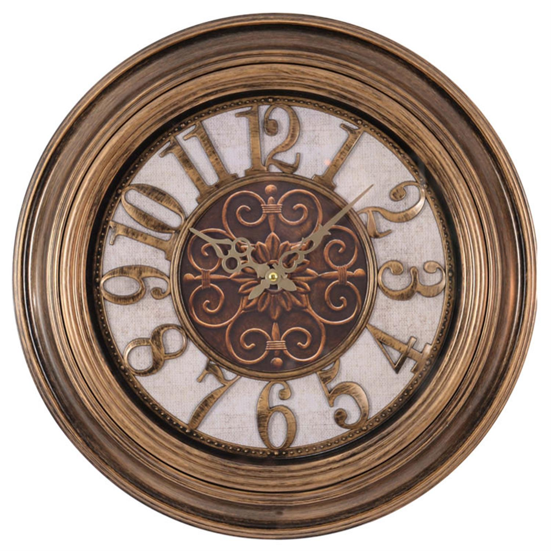 Ρολόι τοίχου pl αντικέ χρυσό Δ:51(5)cm Inart 3-20-385-0007