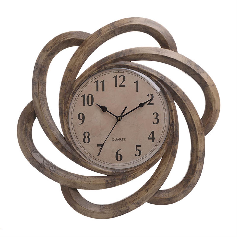 Ρολόι τοίχου pl αντικέ χρυσό/μπεζ 40.5×3.5×40.5cm Inart 3-20-284-0096