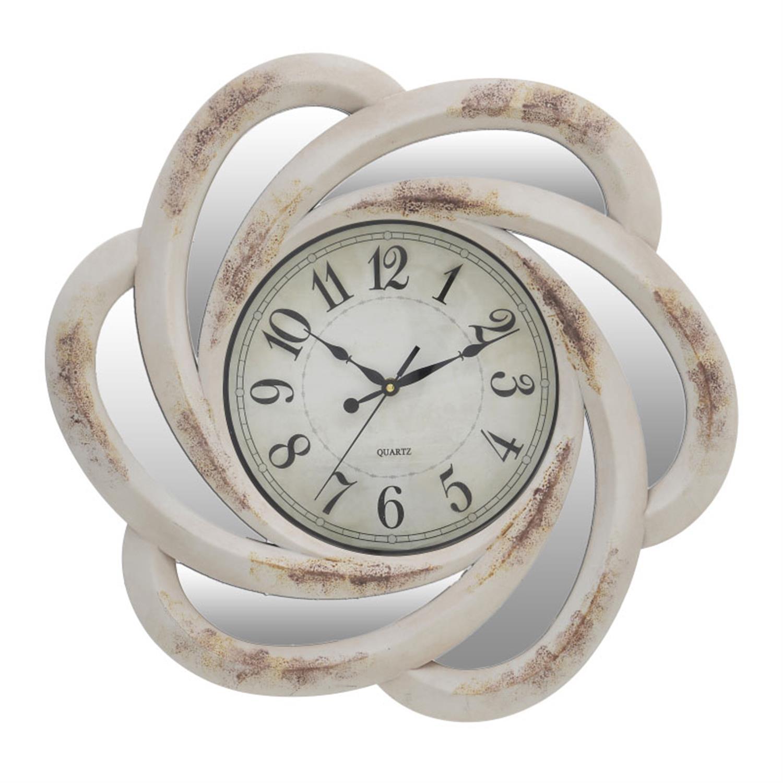Ρολόι τοίχου pl εκρού με καθρέπτη 50.8×5.8×50.8cm Inart 3-20-284-0069
