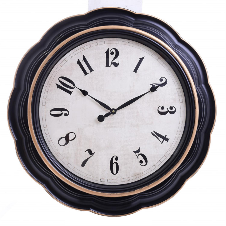 Ρολόι τοίχου pl μαύρο/λευκό Δ76x6cm Inart 3-20-385-0056
