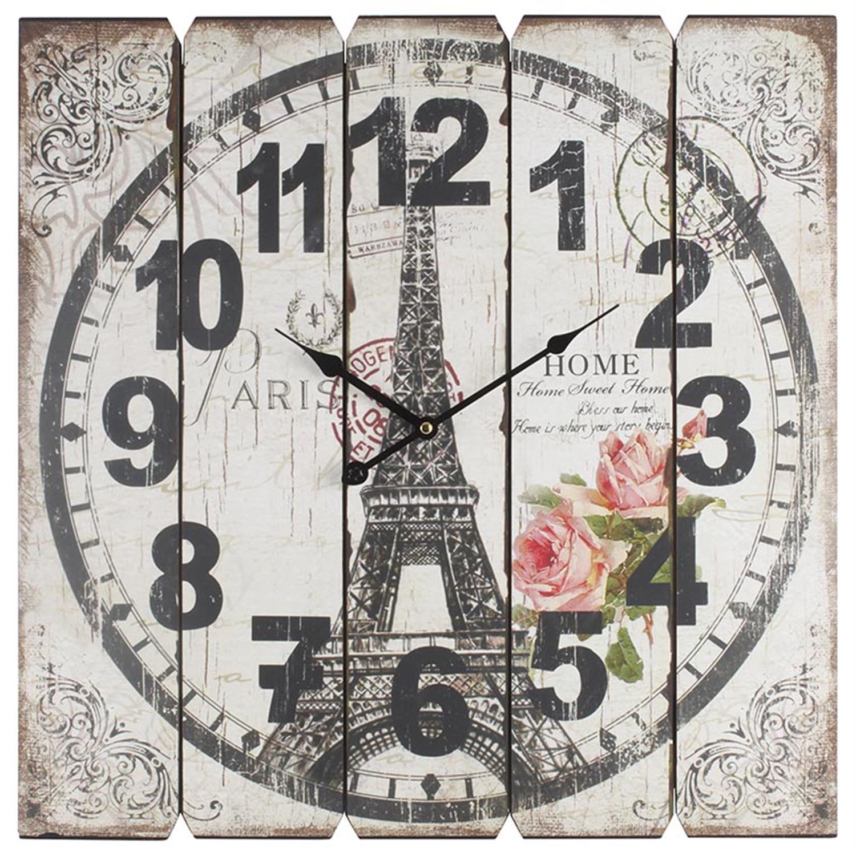 Ρολόι τοίχου Άιφελ ξύλινο 58x58cm Inart 3-20-773-0108