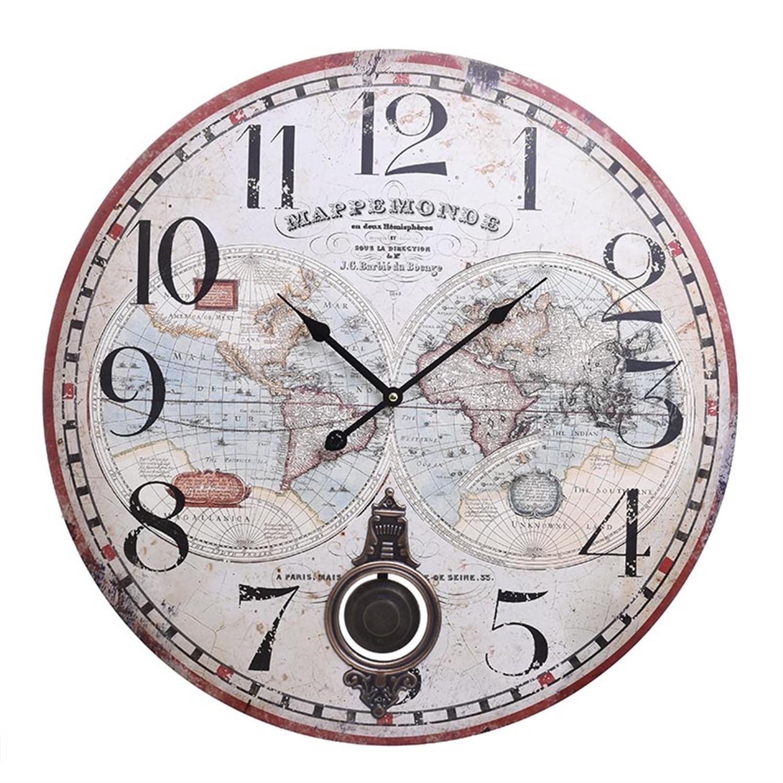 Ρολόι τοίχου άτλας ξύλινο Δ58x4cm Inart 3-20-773-0308