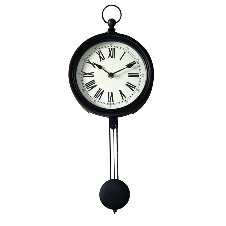 Ρολόι τοίχου με εκκρεμές pl αντικέ μαύρο/εκρού Δ42cm Inart 3-20-828-0112