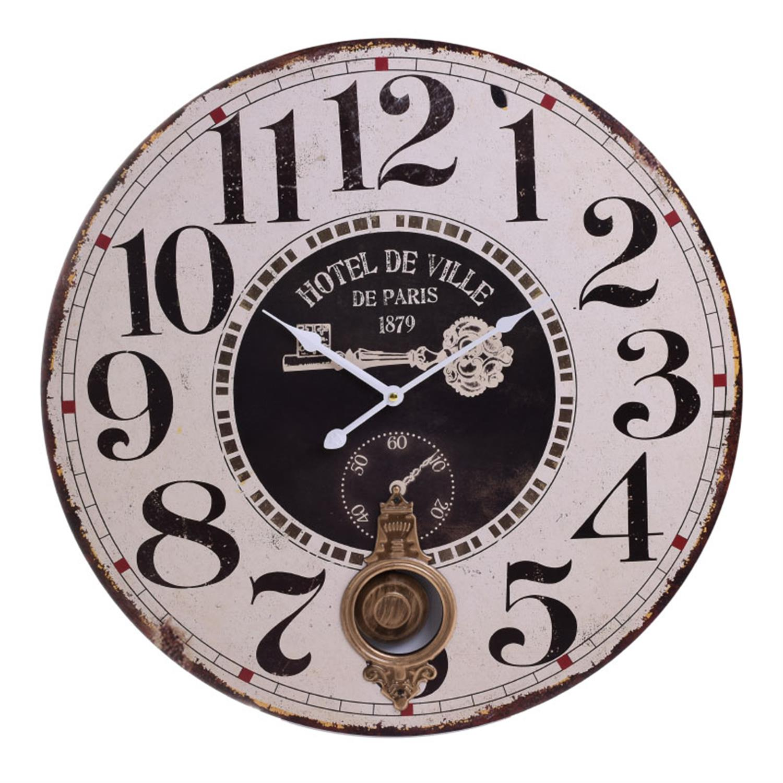 Ρολόι τοίχου με εκκρεμές ξύλινο αντικέ λευκό Δ58x4cm Inart 3-20-773-0324