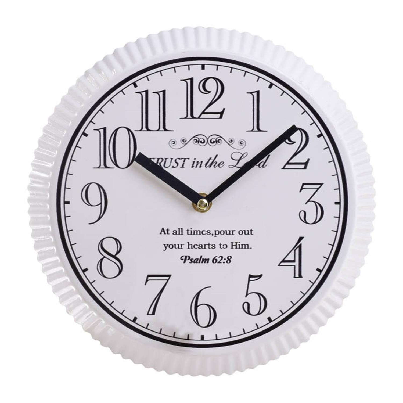 Ρολόι τοίχου μεταλλικό αντικέ λευκό Δ25x2cm Inart 3-20-773-0314