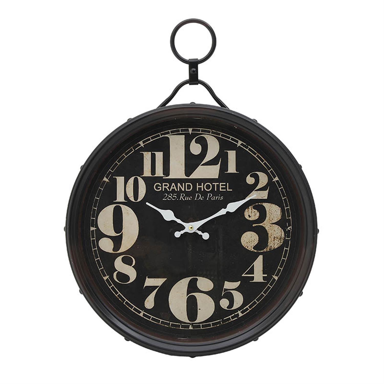 Ρολόι τοίχου μεταλλικό μαύρο/εκρού 40x6x54.5cm Inart 3-20-773-0283