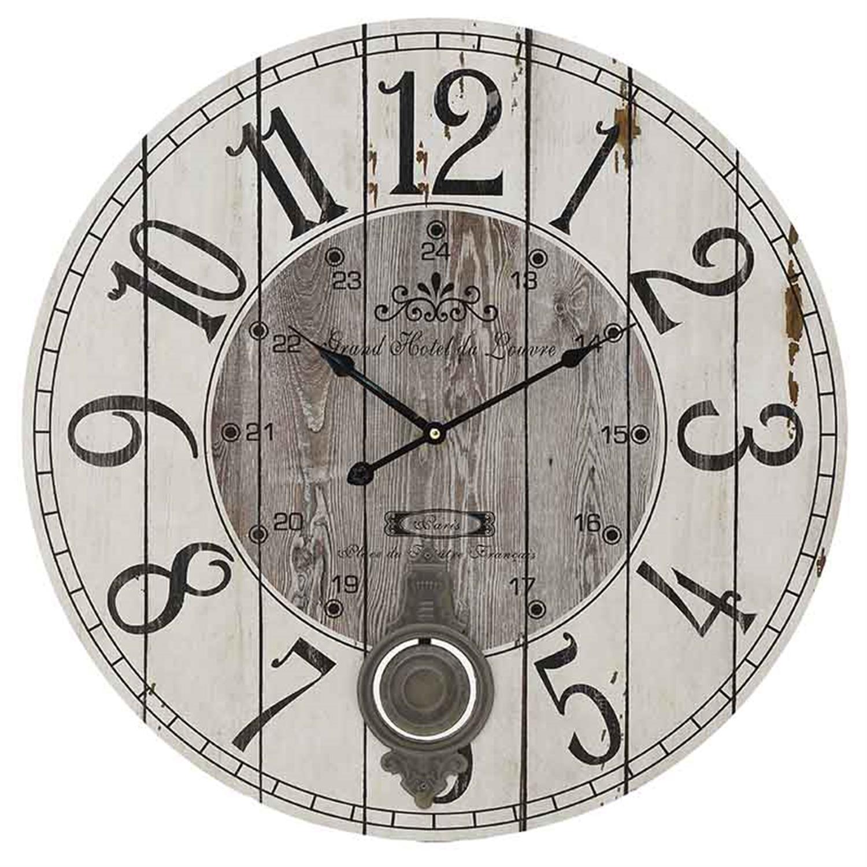 Ρολόι τοίχου ξύλινο natural/καφέ εκκρεμές Δ58×4.5cm Inart 3-20-773-0282