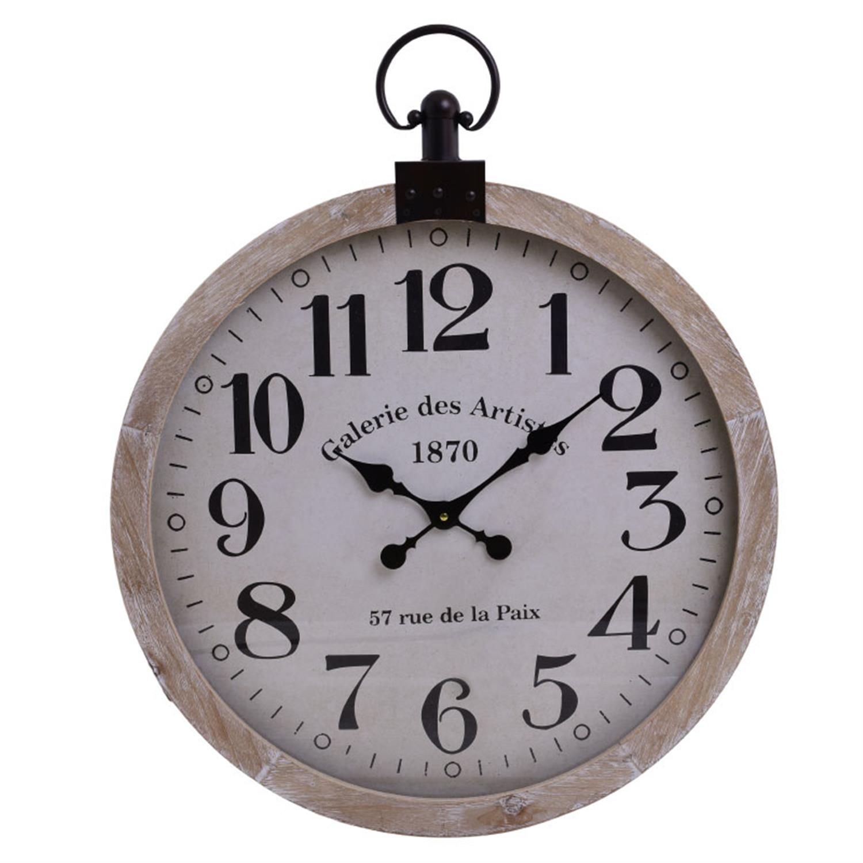 Ρολόι τοίχου ξύλινο natural/λευκό 60×6.5x74cm Inart 3-20-773-0319