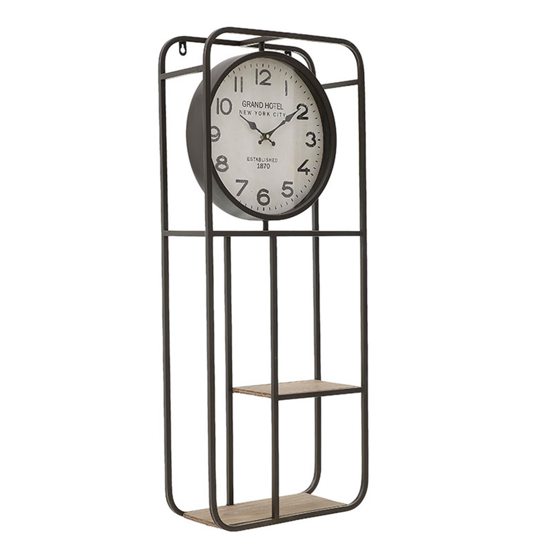 Ρολόι/Ράφι τοίχου μεταλλικό/ξύλινο μαύρο/natural 35.5x15x86cm Inart 3-20-484-0440