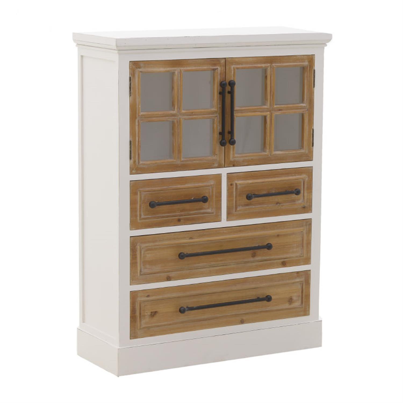 Συρταριέρα/Βιτρίνα ξύλινη λευκή/natural 86.5×35.5×115.5cm Inart 3-50-667-0033