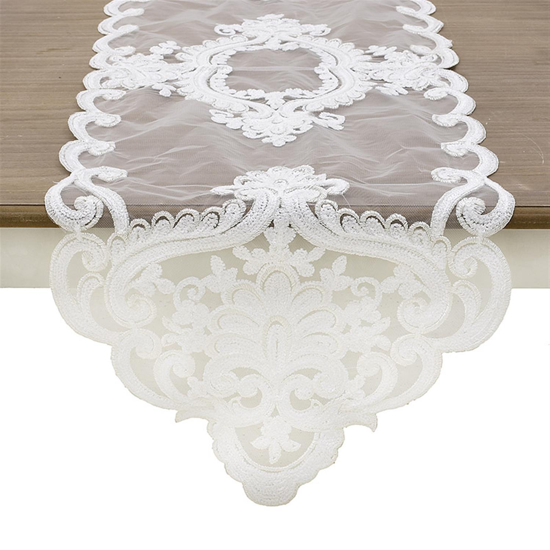 Τραβέρσα με δαντέλα υφασμάτινη λευκή 40×140.cm Inart 3-40-240-0044
