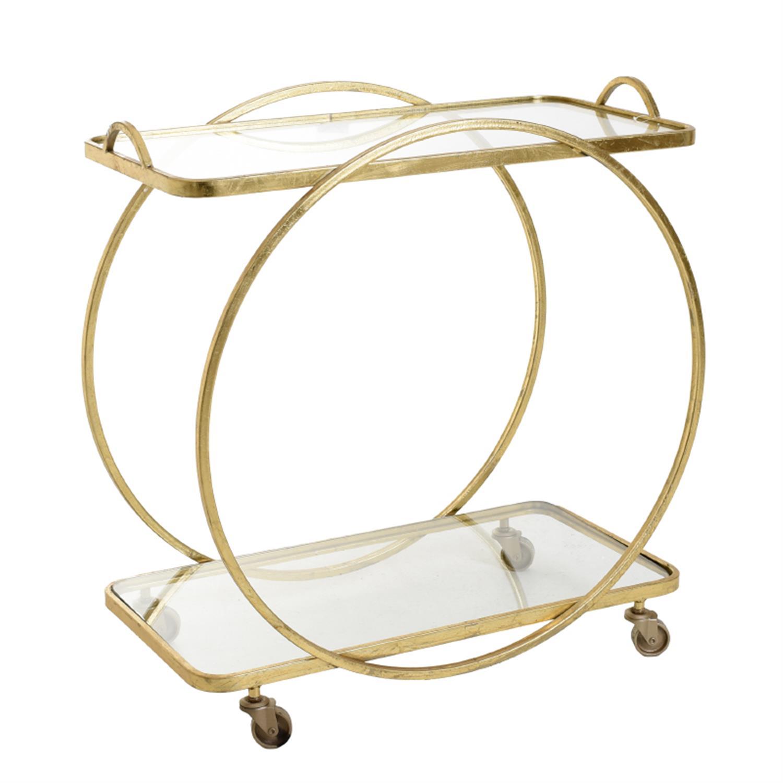 Τραπέζι μεταλλικό/γυάλινο χρυσό 71x38x74cm Inart 3-50-954-0041