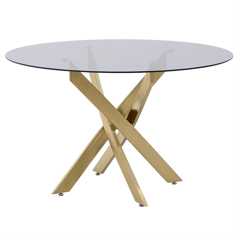 Τραπέζι μεταλλικό/γυάλινο χρυσό Δ120x75cm Inart 3-50-529-0001