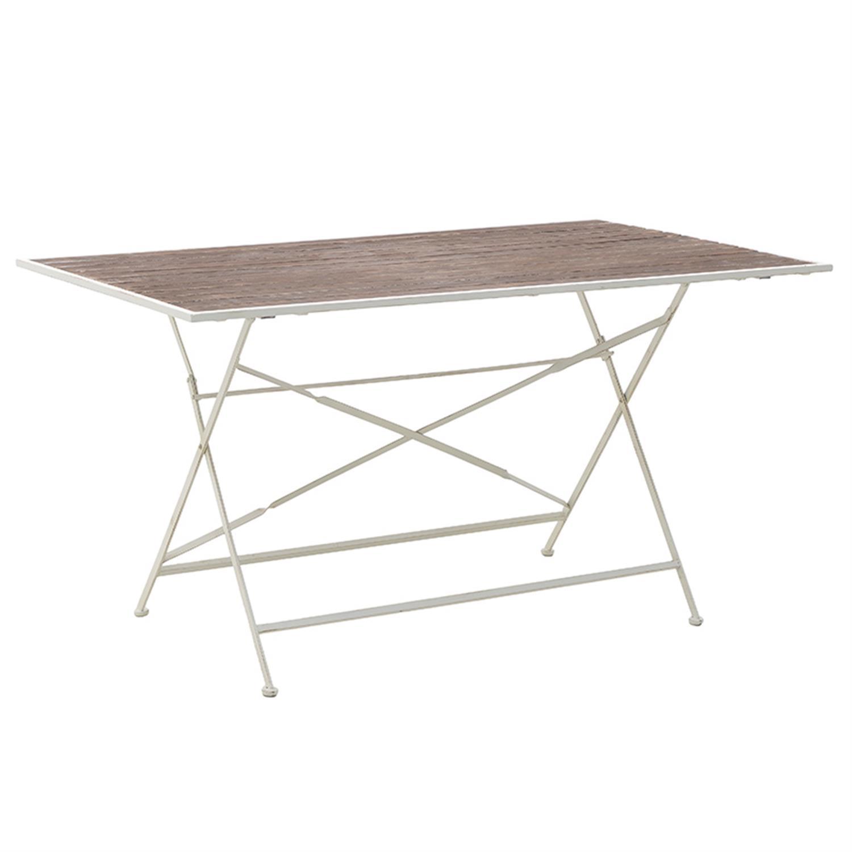Τραπέζι μεταλλικό/ξύλινο λευκό/natural 143.5x84x75.5cm Inart 3-50-052-0011